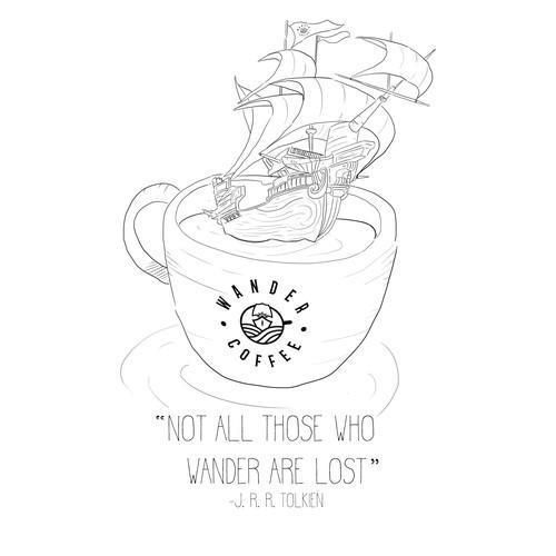 T-Shirt design for Coffee Brand
