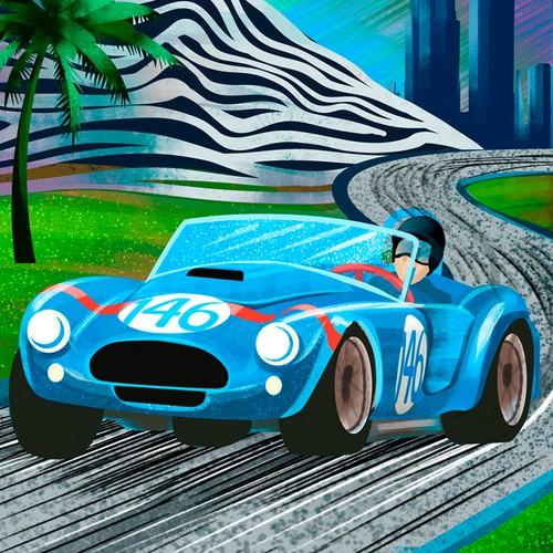 VINTAGE LA RACE CAR POSTER