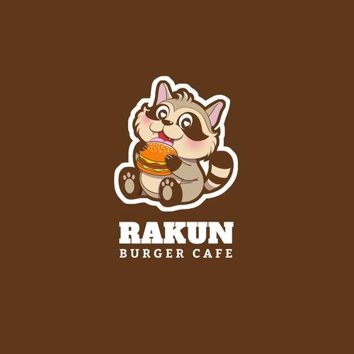 Cute raccoon logo for a burger brand