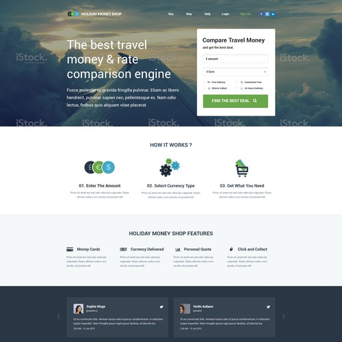 Landing page for Holiday Money Shop