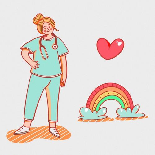 Nurse, rainnbow, heart