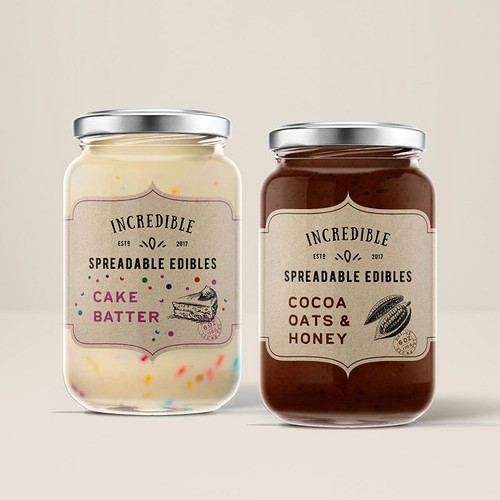 Product label design for Incredible Spreadable Edibles