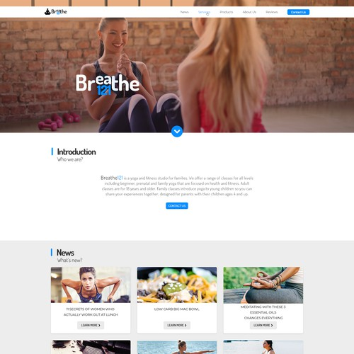 Yoga studio web page