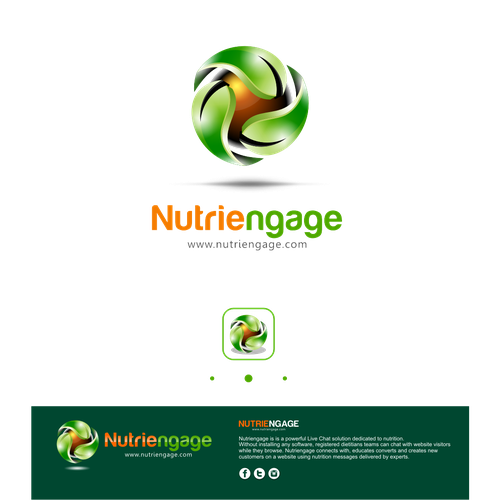 Create a winning logo for nutriengage because nutrition is a fast-moving science