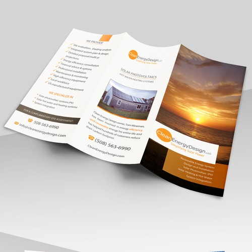 Tri-fold brochure for Clean Energy Design