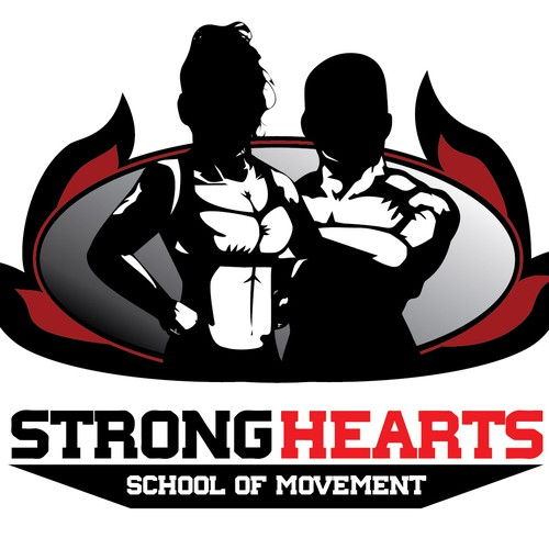 Create a logo for StrongHearts School of movement (CrossFit/Movenat/Boxing school)