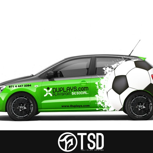 Design the car wrapping for DUPLAYS, a Dubai-based sports company