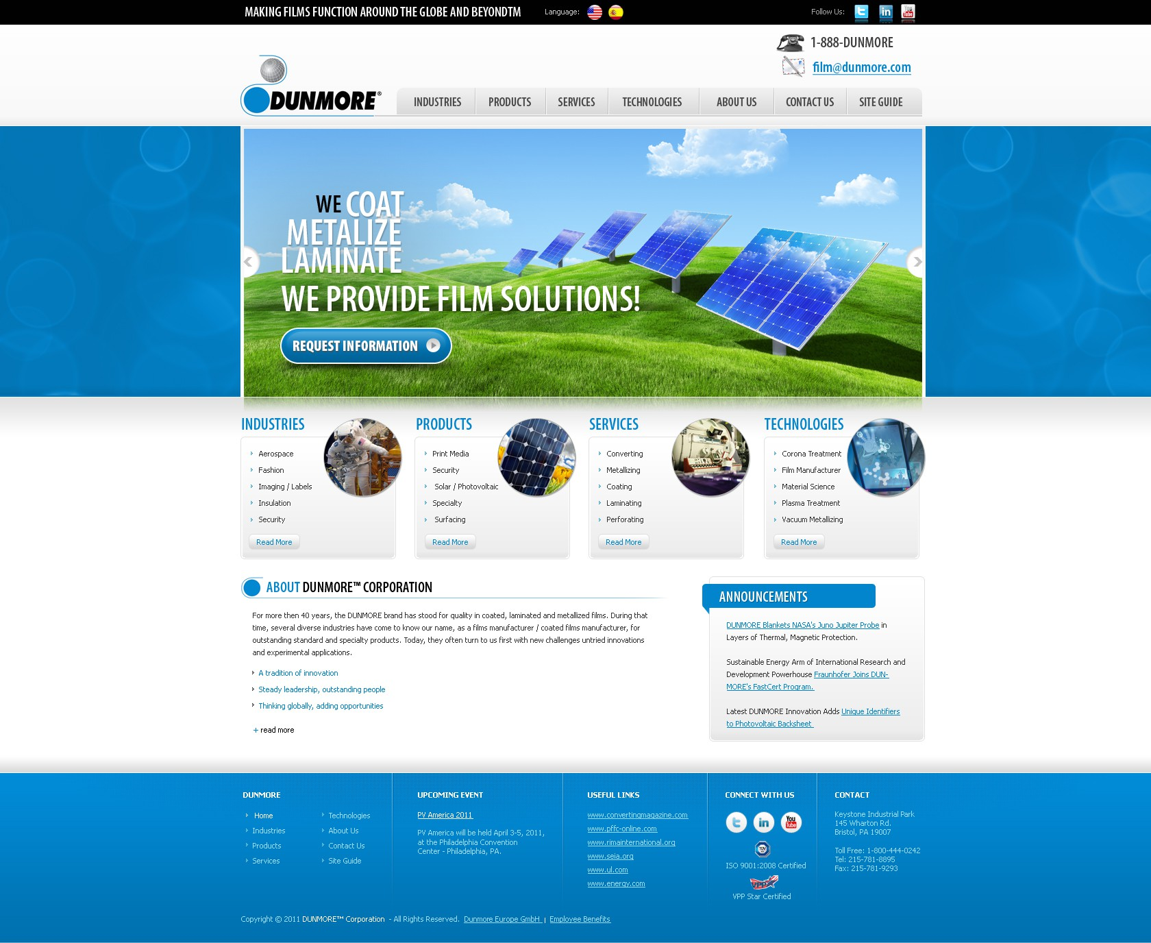 New website design wanted for DUNMORE Corporation