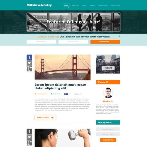 Milkshake Monkey Fitness Blog Design