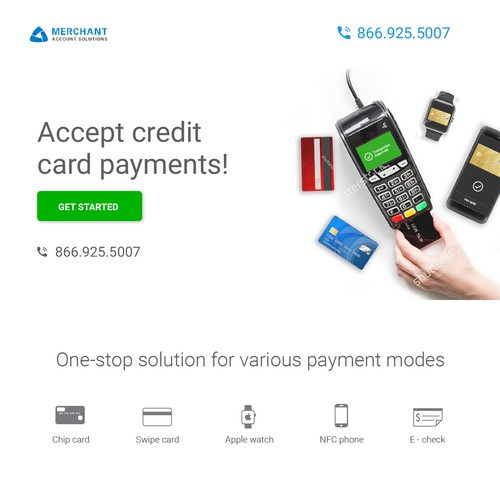 Website page design for a credit card machine issuing bussiness
