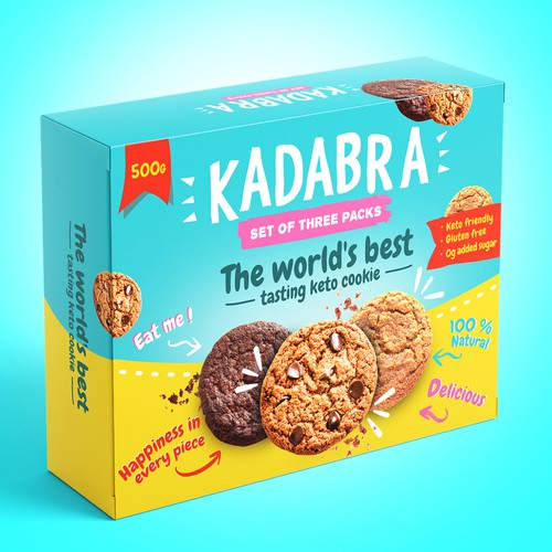 Box design for a fun and magical keto cookie brand