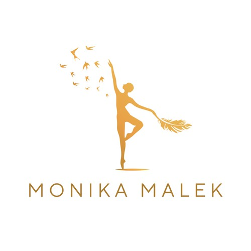 An elegant logo design concept for a female coach who offers meditations, singing and burlesque dancing