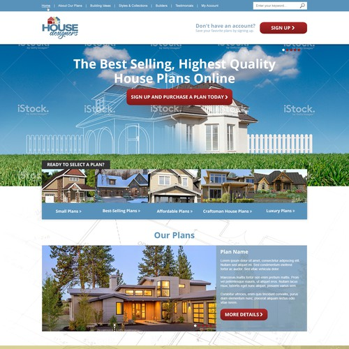 Landing Page Design - Redesign house plan page for leading Architects and Home Designers, The House Designers
