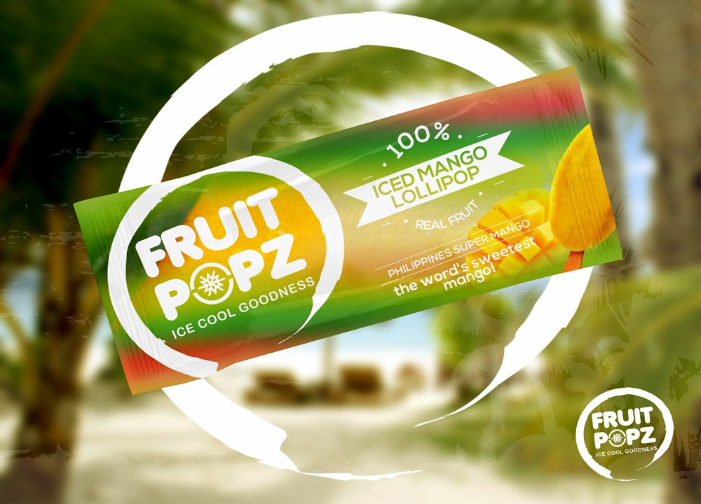 """Create a great label and package design for a premium brand real fruit """"lollipop""""."""