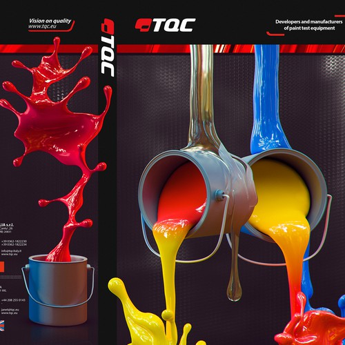 Colorful, catchy, smashing. Design the cover of the TQC catalogue about paint test products