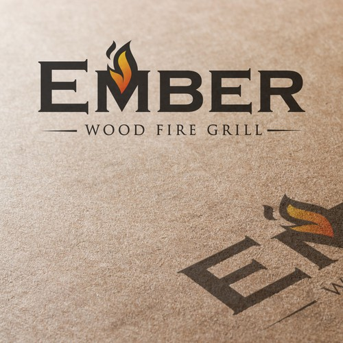Create the next logo for Ember Wood fire grill