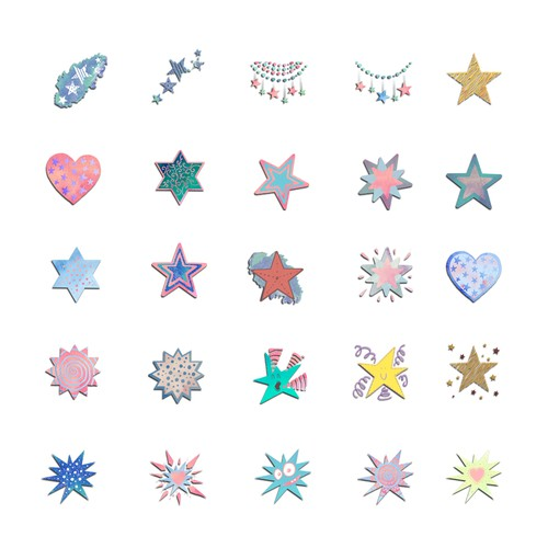 Star Theme Stamp Sets for Photo Editing App
