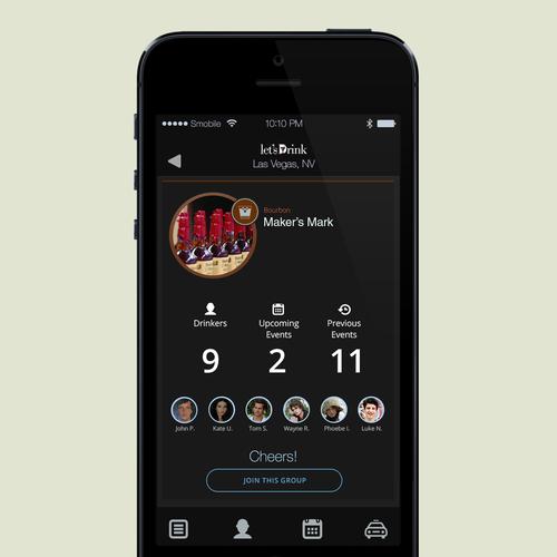 Create a Sophisticated, Clean Design for the Let's Drink Community Mobile App
