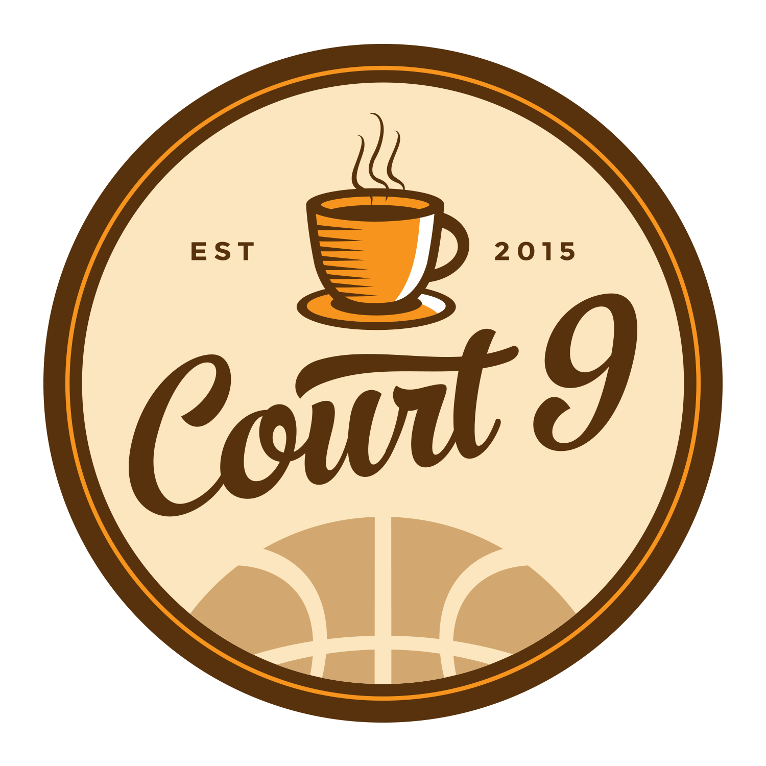 Cafe Logo within a Basketball Stadium