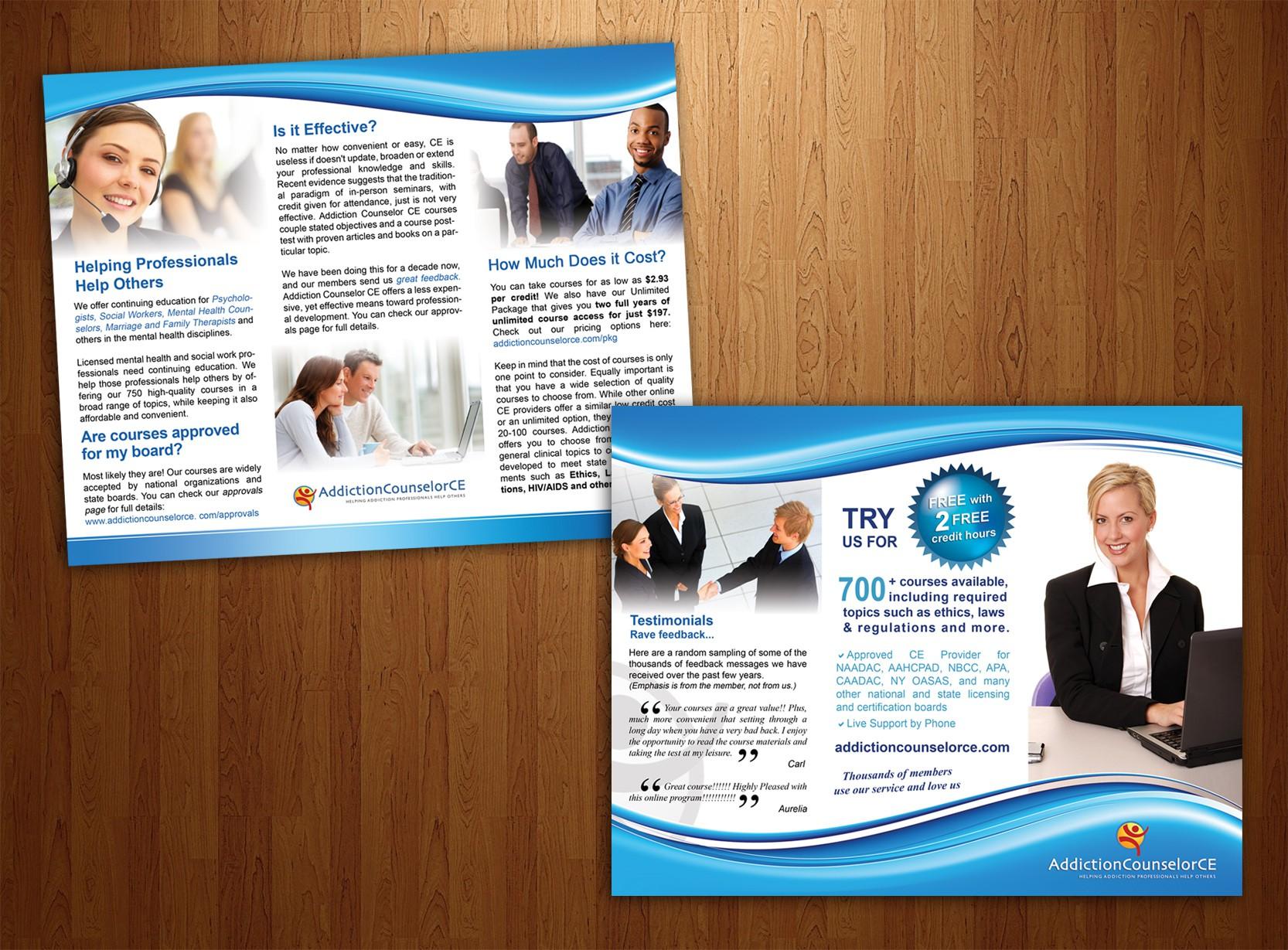 Create trifold brochure for AddictionCounselorCE.com
