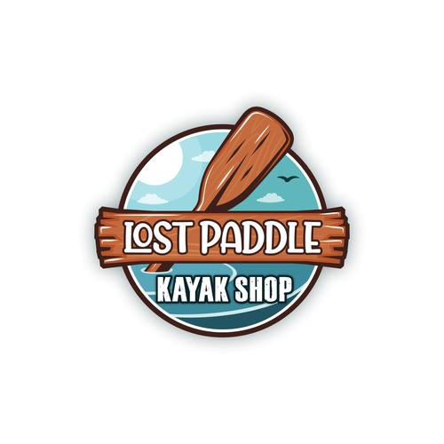 Playful logo for a kayak Shop