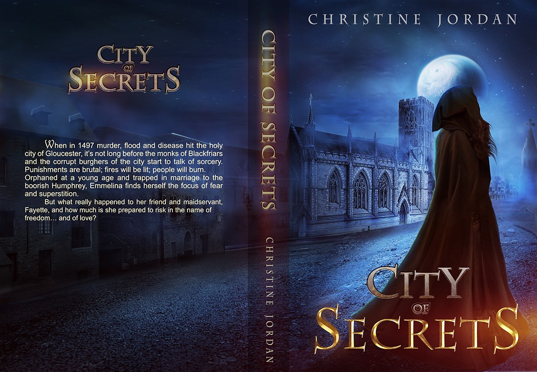 Design a book cover for the edgy medieval mystery set in the medieval city of Gloucester