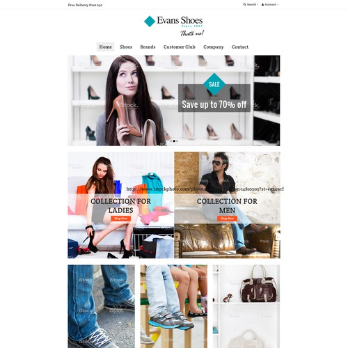 E-commerce design for Evans Shoes wants your help to make them look sexy