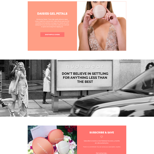 Homepage design concept for lingerie ecommerce website