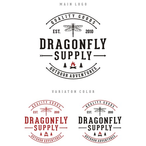 logo concept for Dragonfly Supply outdoor adventure