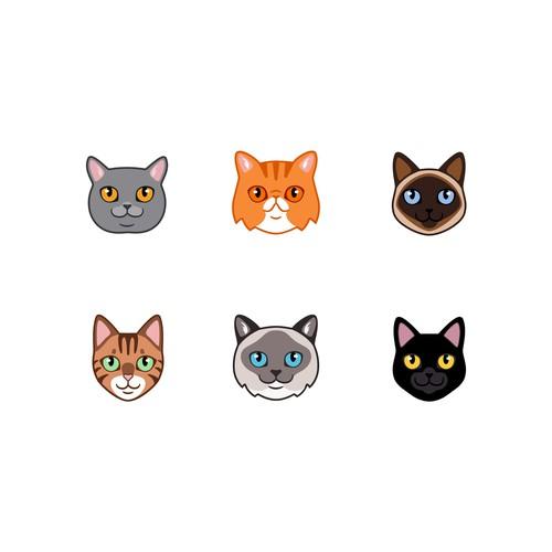6 Small Cute Cat Faces/ illustrations