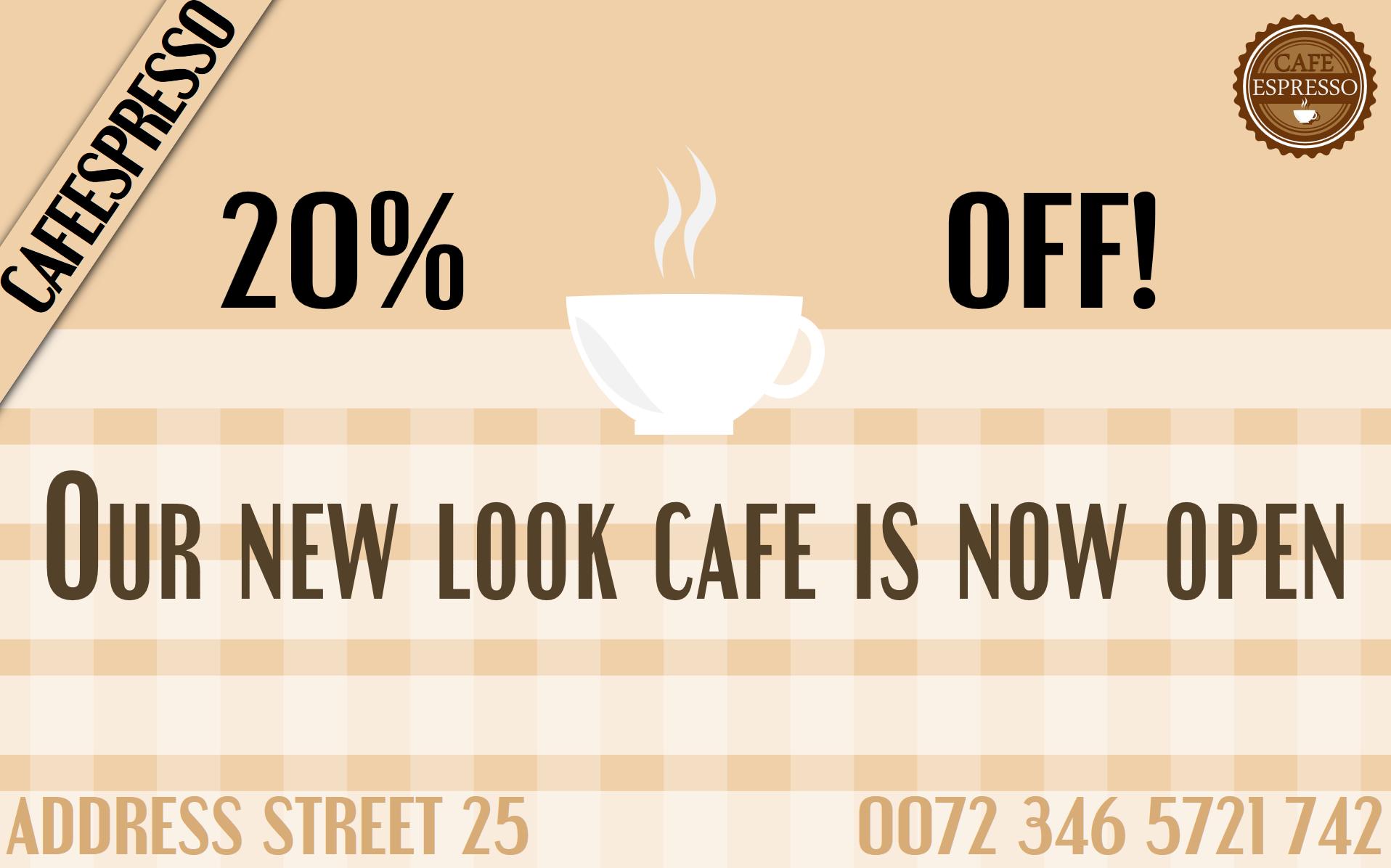 Cafe flash or html5 digital display ad, simplified