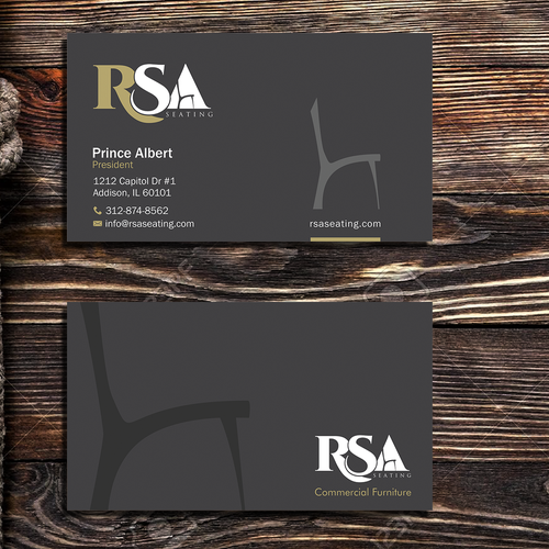 Create a luxurious business card for a commercial furniture supplier.