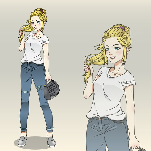 Girl in cartoon version.