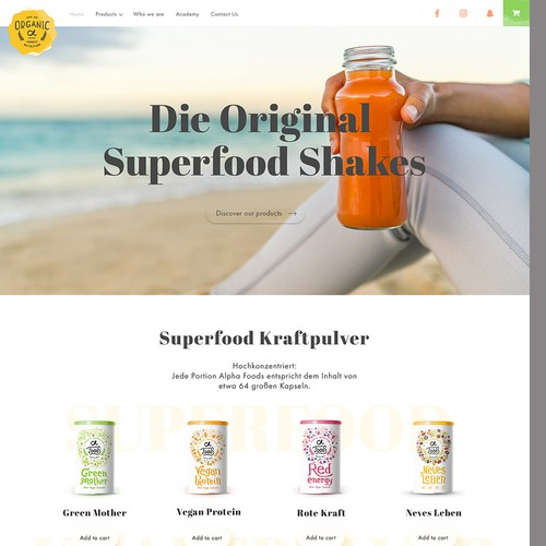 Concept of showing more products/existing website