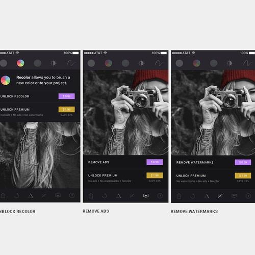 Ui design for photo edition app