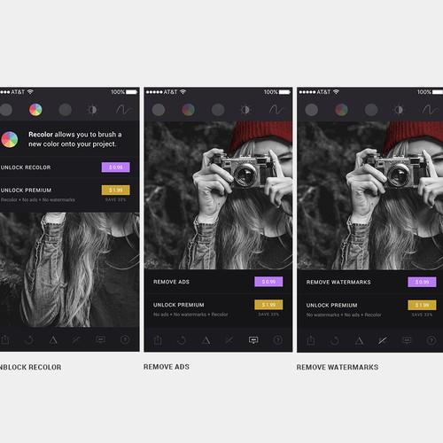 Ui design for photo edition app