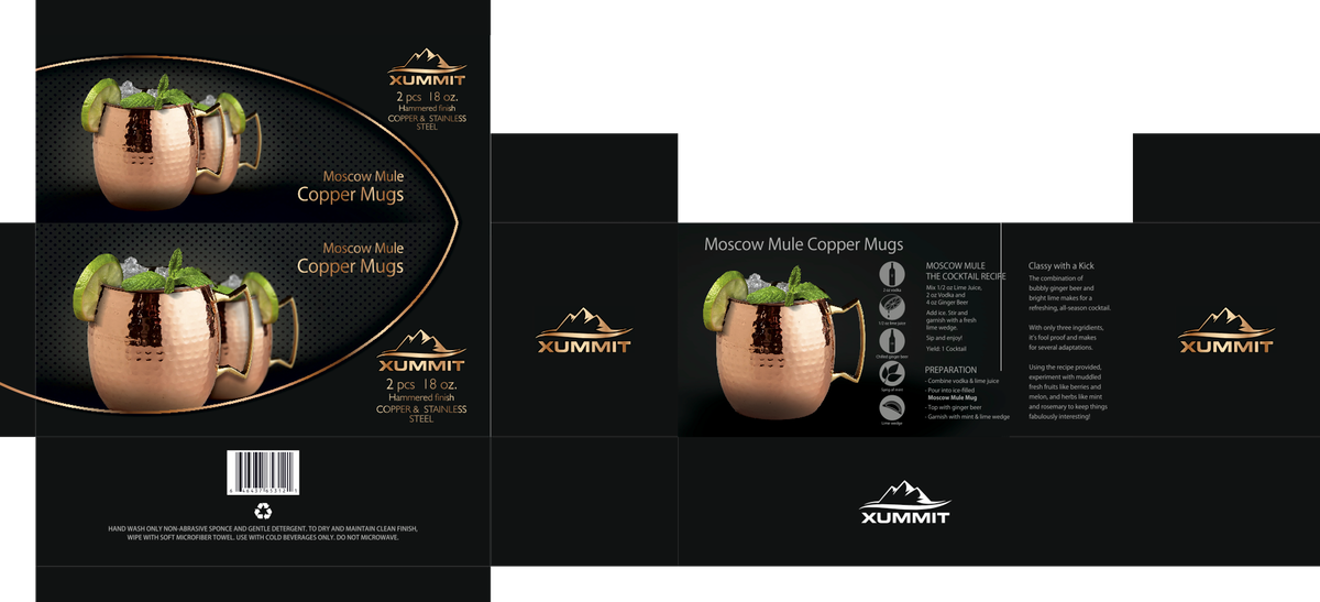 Package Design for new Smooth Moscow Mule Copper Mugs