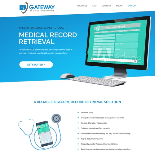 Webpage design for a Medical Record Retrieval Solution