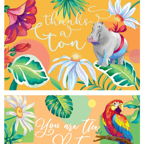Vibrant tropical Thank you cards