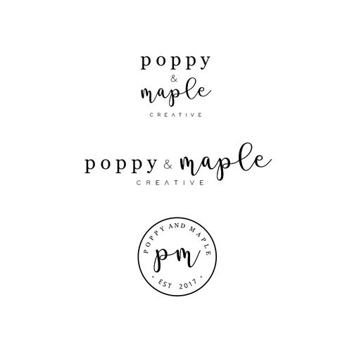 Design a clean, creative, eye-catching logo for Poppy & Maple Creative.