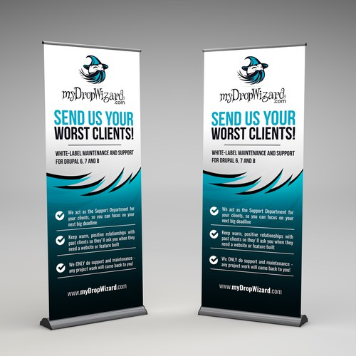 Create an awesome VERTICAL BANNER for the myDropWizard booth at a conference!