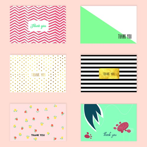 Appreciation thank-you cards inspired by Kikki K design.