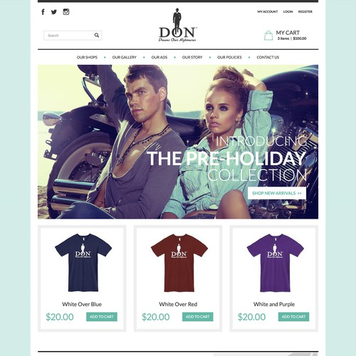 Create a One-of-a-kind Web Store for Dreams Over Nightmares LLC: Don Closet