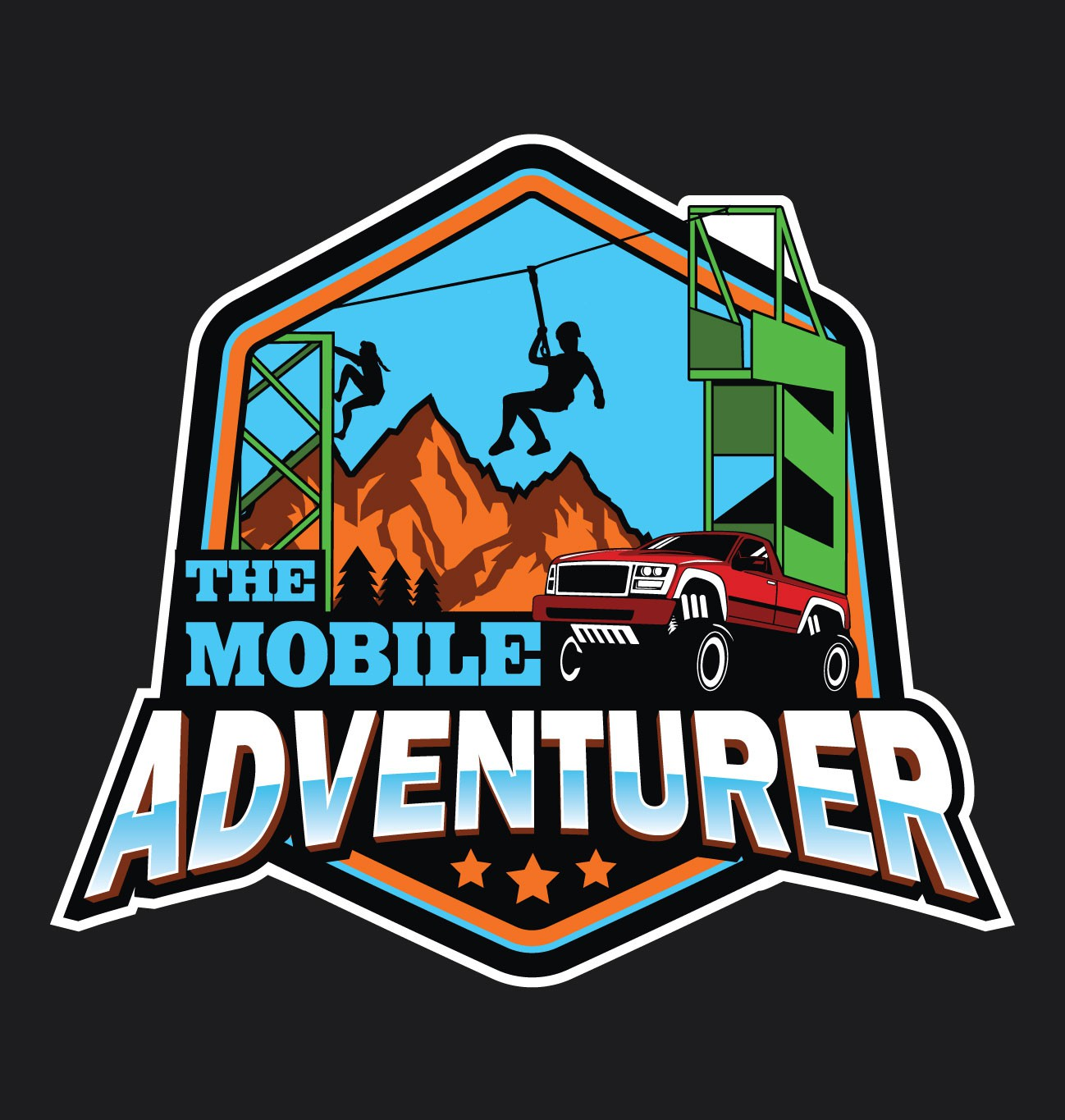 Create a fun logo for our traveling rock wall and zipline