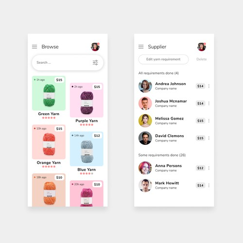 B2B Yarn Marketplace App Design