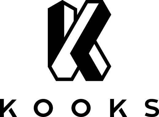 Create a modernist logo for Kooks: a technology company