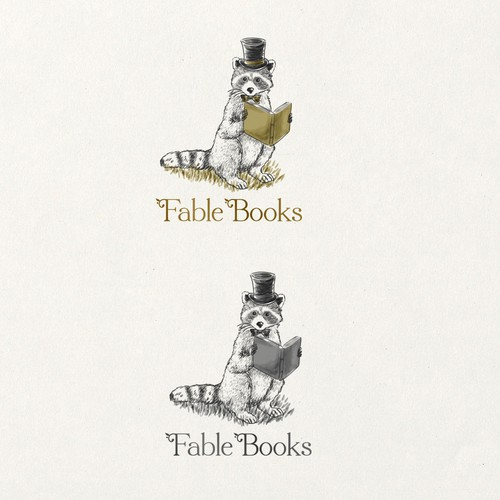 Fable books logo bookstore design