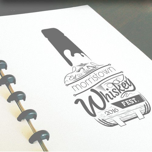 Typography Logo Design For Whiskey Fest