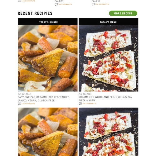 Home page design for bigman's recipe