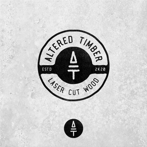 vintage logo laser cut wood